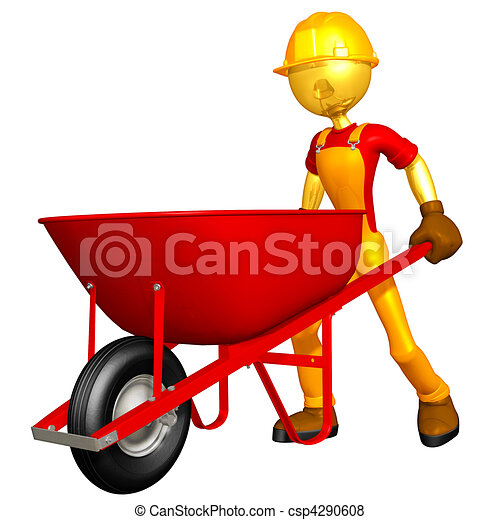 Construction Worker & Wheelbarrow - csp4290608