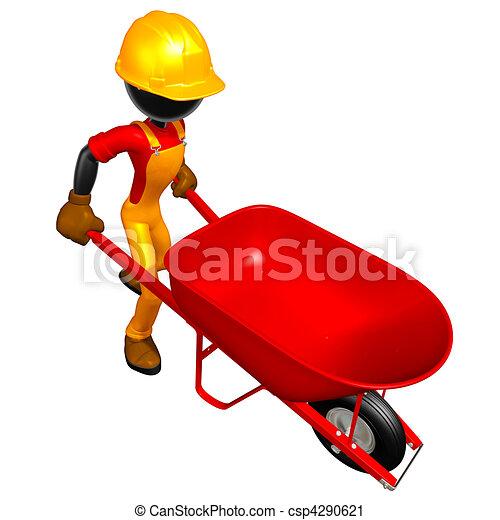 Construction Worker & Wheelbarrow - csp4290621