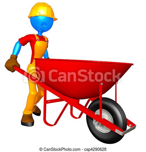 Construction Worker & Wheelbarrow - csp4290628