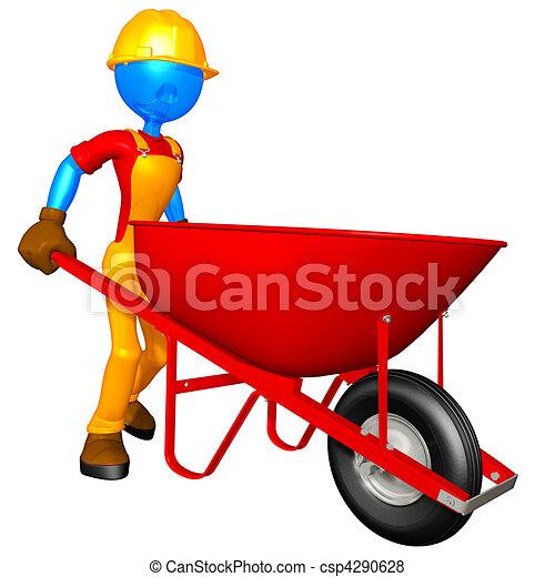 Construction Worker & Wheelbarrow - csp4290628