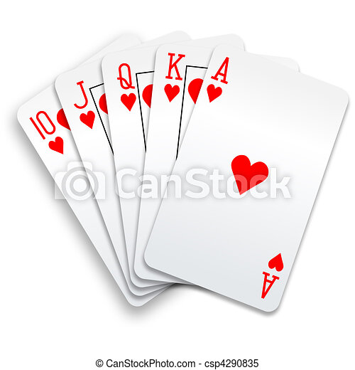Hearts royal straight flush playing cards poker hand - csp4290835