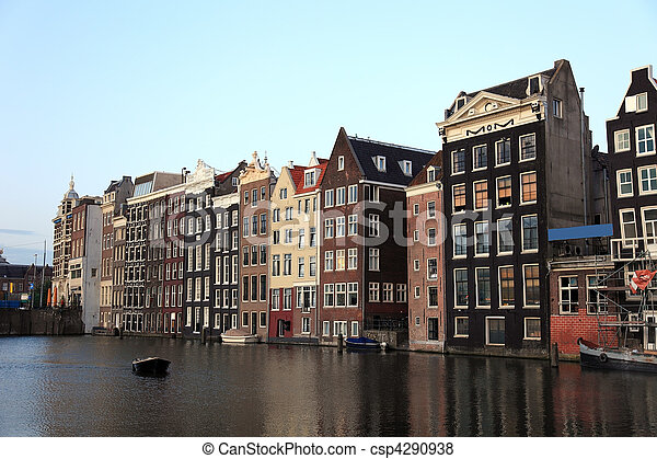 Old historic houses in Amsterdam, Netherlands, Europe. - csp4290938