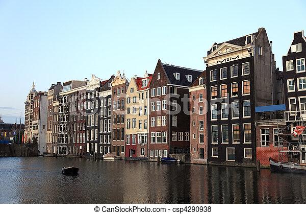 antigas, casas, histórico, Amsterdão, Países Baixos, Europa - csp4290938