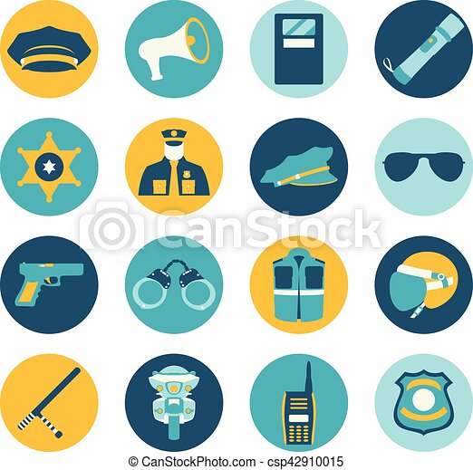 Vector color set collection icons of police equipment vector illustration - csp42910015