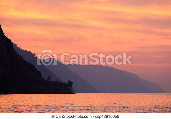Sunrise on the lake Baikal, Republic of Buryatia, Russia - csp42910058
