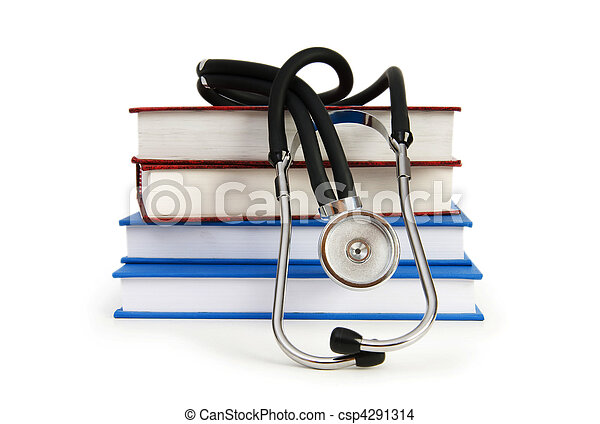 Concept of medical education with book and stethoscope - csp4291314