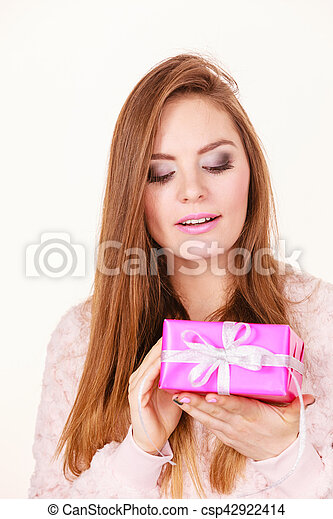 Occasions gifts people concept. Christmas xmas winter season. Lovely woman with pink rose box gift