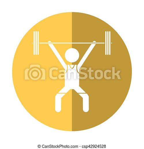man weight lifter sport athlete shadow - csp42924528