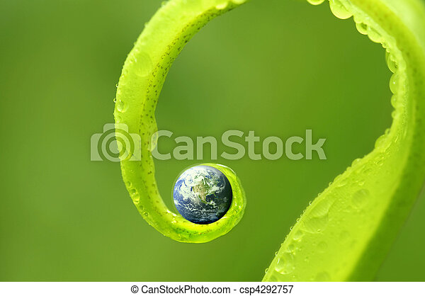 concept photo of earth on green nature, Earth map by courtesy of visibleearth.nasa.gov - csp4292757