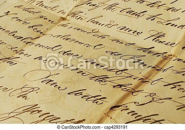 Old letter, elegant handwriting - csp4293191