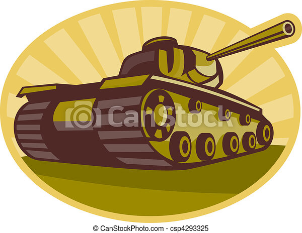 world war two battle tank aiming cannon to side with sunburst - csp4293325
