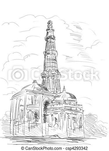 Clip Art of Qutub Minara tower Delhi India - hand drawn ... Qutub Minar Sketch For Kids