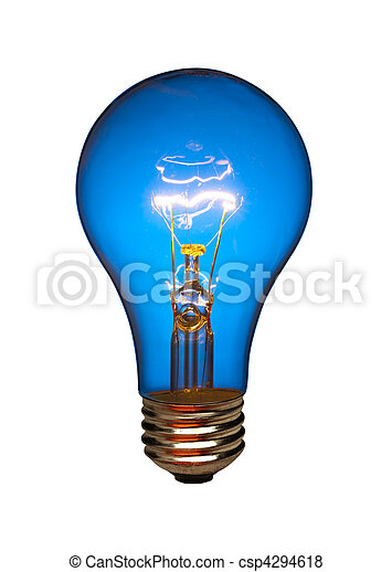 Blue light bulb, isolated - csp4294618