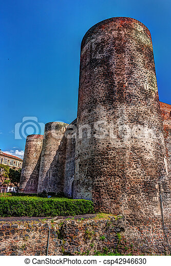Panorama of the Castello Ursino - csp42946630