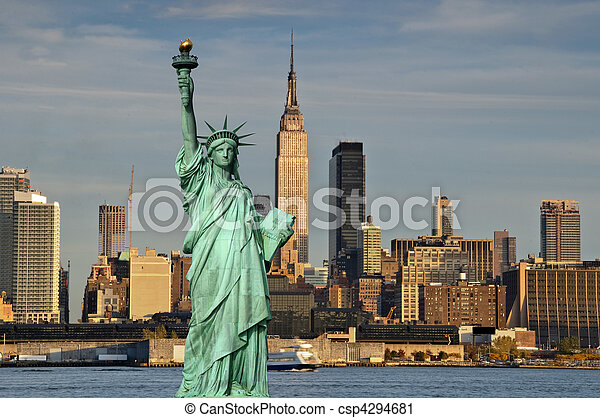 tourism concept new york city with statue liberty - csp4294681
