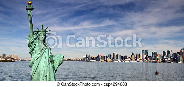 tourism concept new york city with statue liberty - csp4294683