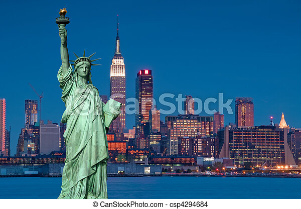 tourism concept new york city with statue liberty - csp4294684