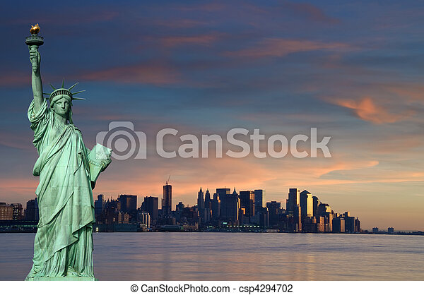 tourism concept new york city with statue liberty - csp4294702