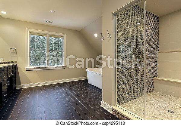 stock fotografie von groß, dusche, meister, bad - meister, bad, in, Moderne deko