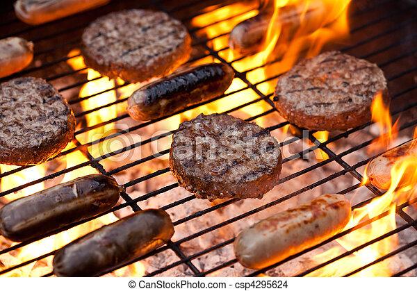 Sausages and beefburgers on a BBQ - csp4295624