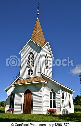 Rural white country church - csp42961570