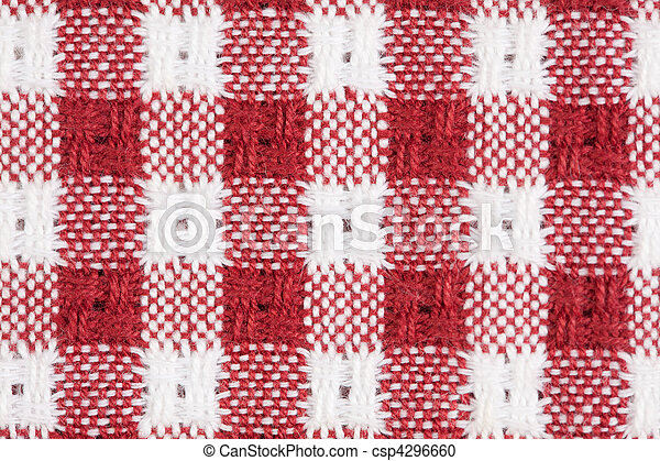 Red and White Gingham Checkered Tablecloth Background - csp4296660