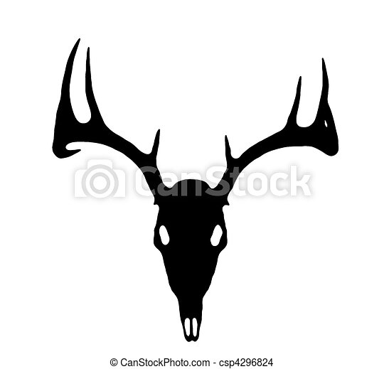 European Deer Silhouette Black on White  - csp4296824