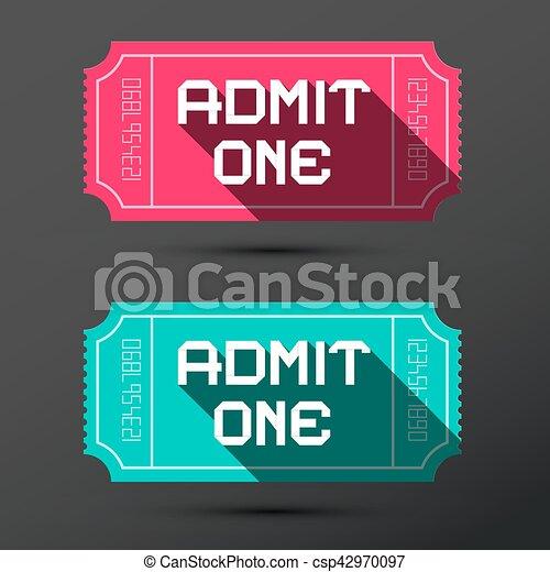 Admit One Ticket.Retro Pink and Blue Tickets Set. - csp42970097
