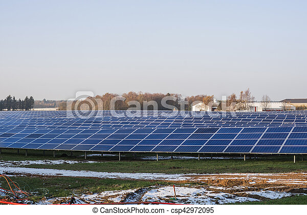 Solar cell park in the winter - csp42972095