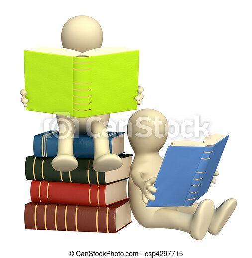 3d puppets, reading the books - csp4297715