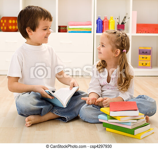 Let me tell you about school little sister - csp4297930