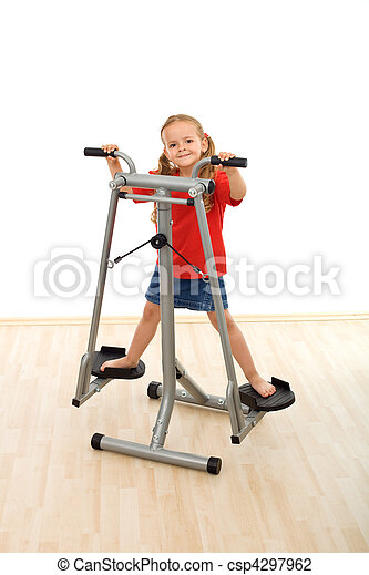 Little girl playing on stretcher device in the gym - csp4297962