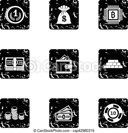 Bank icons set, grunge style - csp42980319