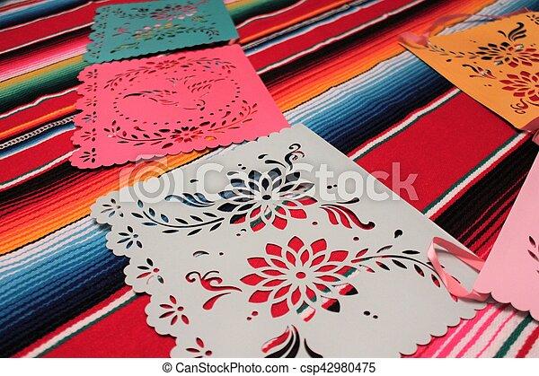 Mexico poncho sombrero skull background fiesta cinco de mayo decoration bunting - csp42980475