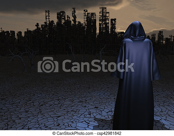 Traveler before the destroyed city - csp42981842