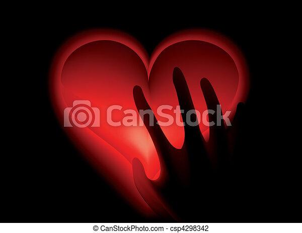 Hand in heat from heart hot.  Vector  - csp4298342