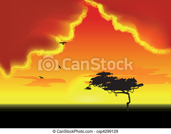 Landscape with tree on horizon. Vector - csp4299129