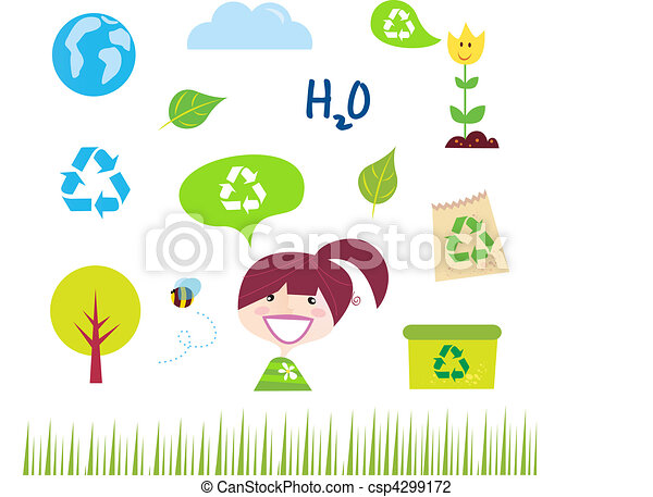 Recycle, Nature And Ecology Icons  - csp4299172