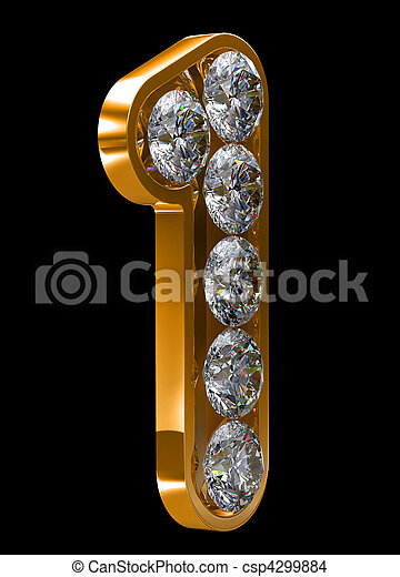 Golden 1 numeral incrusted with diamonds - csp4299884