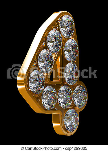 Golden 4 numeral incrusted with diamonds - csp4299885
