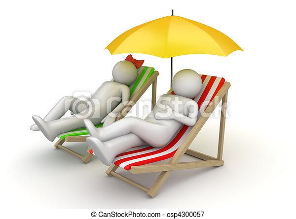 Couple on beach chairs - csp4300057