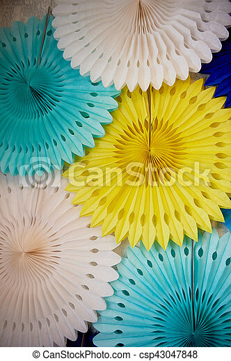 Decorative interior decoration of thin paper. Decor wedding, children\'s birthday party. A sense of celebration. Texture
