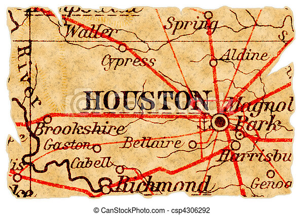 Stock Photo of Houston old map - Houston, Texas on an old torn map ...