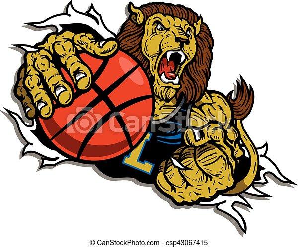 Vector Clip Art of lion basketball player ripping through ...