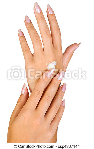 beautiful nails and woman fingers - csp4307144