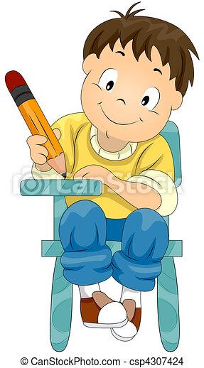 Child Writing - csp4307424