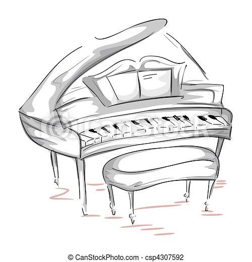 钢琴晚会手绘海报