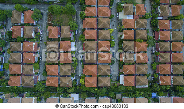 top view of home village roof in land management bangkok thailand - csp43080133