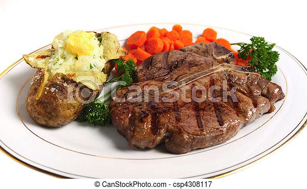 T-bone steak horizontal from above - csp4308117