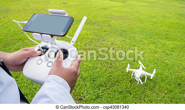Hand holding on remote for Control drone